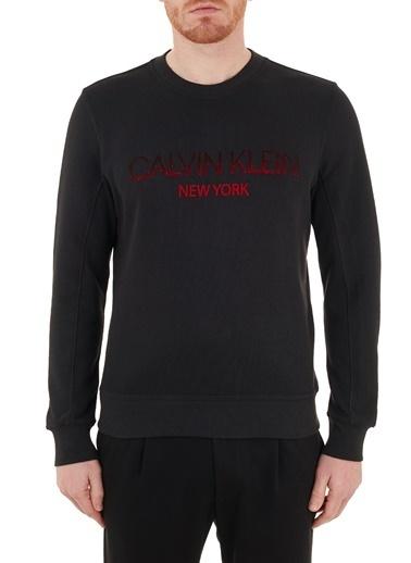 Calvin Klein  Regular Fit Baskılı Bisiklet Yaka Pamuklu Sweat Erkek Sweat K10K106483 Beh Siyah